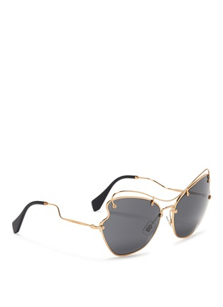Figure View - Click To Enlarge - miu miu - 'Scenique' butterfly wave metal sunglasses