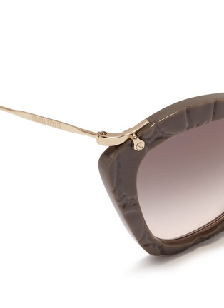 Detail View - Click To Enlarge - miu miu - Croc embossed acetate angular sunglasses