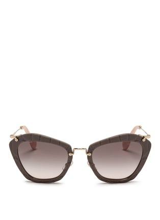 Main View - Click To Enlarge - miu miu - Croc embossed acetate angular sunglasses