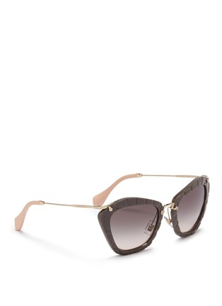 Figure View - Click To Enlarge - miu miu - Croc embossed acetate angular sunglasses