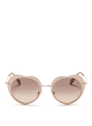 Main View - Click To Enlarge - miu miu - Matte coated heart metal sunglasses
