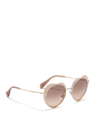 Figure View - Click To Enlarge - miu miu - Matte coated heart metal sunglasses