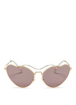 Main View - Click To Enlarge - miu miu - 'Scenique' metal wavy cat eye sunglasses