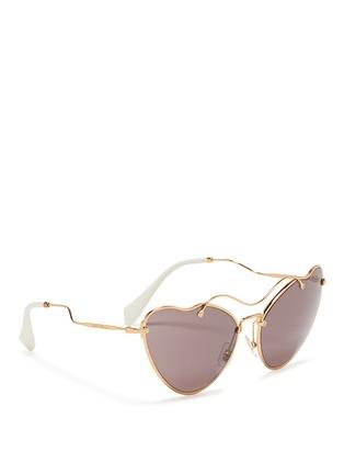 Figure View - Click To Enlarge - miu miu - 'Scenique' metal wavy cat eye sunglasses