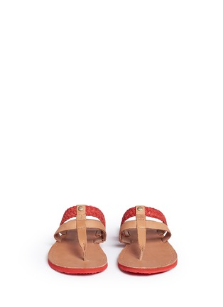 Front View - Click To Enlarge - Ugg Australia - 'Audra' colourblock braided leather sandals
