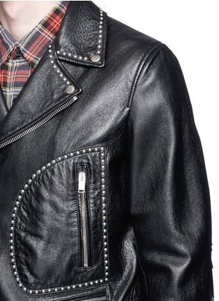 Detail View - Click To Enlarge - SAINT LAURENT - Fringe back stud leather biker jacket