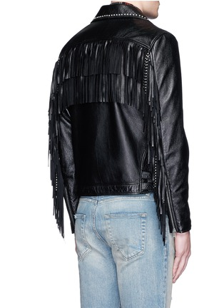 Back View - Click To Enlarge - SAINT LAURENT - Fringe back stud leather biker jacket