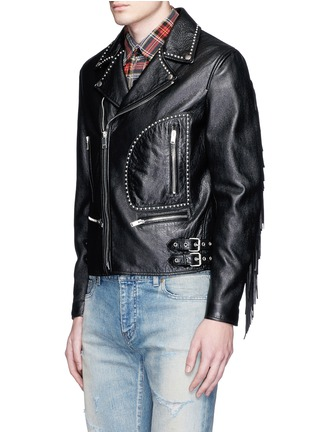 Front View - Click To Enlarge - SAINT LAURENT - Fringe back stud leather biker jacket
