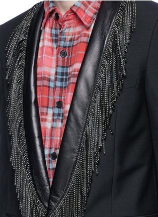 Detail View - Click To Enlarge - SAINT LAURENT - Leather stud fringe lapel Mohair-wool blazer