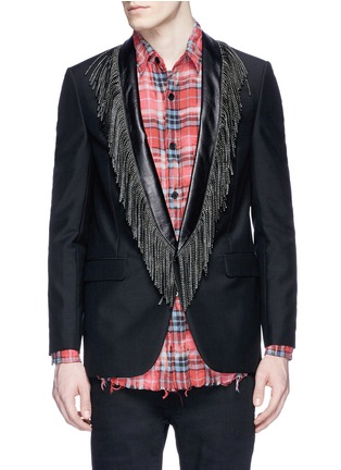 Main View - Click To Enlarge - SAINT LAURENT - Leather stud fringe lapel Mohair-wool blazer