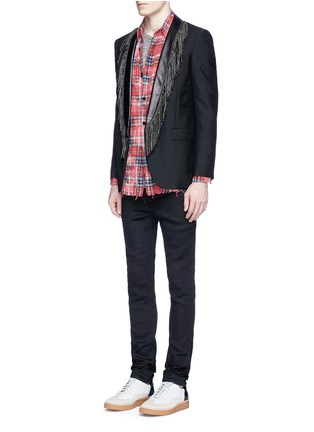 Figure View - Click To Enlarge - SAINT LAURENT - Leather stud fringe lapel Mohair-wool blazer