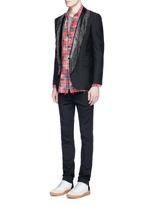 Leather stud fringe lapel Mohair-wool blazer