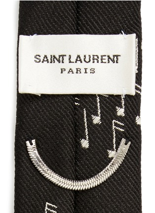 Detail View - Click To Enlarge - SAINT LAURENT - Music note embroidery silk skinny tie