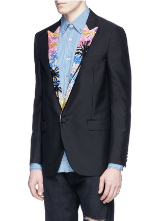 Front View - Click To Enlarge - Saint Laurent - Palm tree sequin wool-Mohair blazer