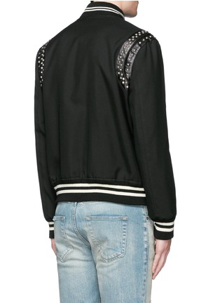 Back View - Click To Enlarge - Saint Laurent - Stud wool twill teddy jacket