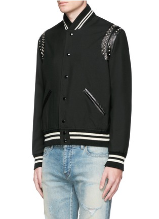 Front View - Click To Enlarge - Saint Laurent - Stud wool twill teddy jacket