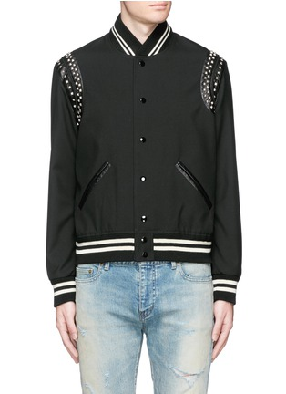 Main View - Click To Enlarge - Saint Laurent - Stud wool twill teddy jacket