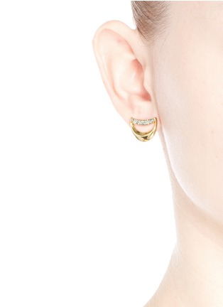 Figure View - Click To Enlarge - Chloé - 'Isalis' crystal pavé crescent moon earrings