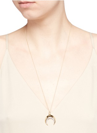 Figure View - Click To Enlarge - Chloé - 'Isalis' crystal pavé crescent moon pendant necklace