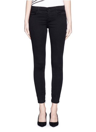 Detail View - Click To Enlarge - J Brand - 'Luxe Sateen' zip cuff super skinny jeans
