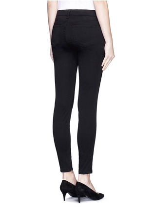 Back View - Click To Enlarge - J Brand - 'Luxe Sateen' zip cuff super skinny jeans