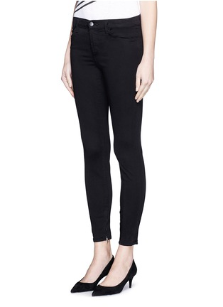 Front View - Click To Enlarge - J Brand - 'Luxe Sateen' zip cuff super skinny jeans