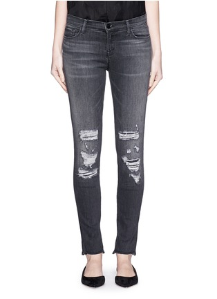 Detail View - Click To Enlarge - J Brand - 'Skinny Leg' mid rise close cut jeans