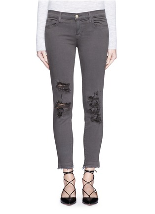 Detail View - Click To Enlarge - J Brand - 'Photo Ready' distressed cropped skinny jeans