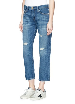 Front View - Click To Enlarge - Current/Elliott - 'The Boyfriend' distressed cropped jeans