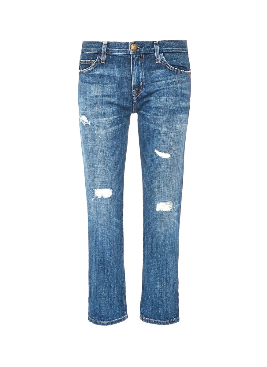 The Boyfriend distressed cropped jeans by Current/Elliott