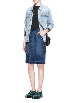 'Short Sally' cutoff hem button skirt