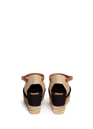 Back View - Click To Enlarge - Tory Burch - Knotted bow canvas espadrille platform sandals
