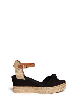 Main View - Click To Enlarge - Tory Burch - Knotted bow canvas espadrille platform sandals