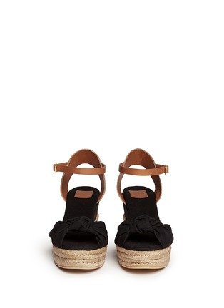 Figure View - Click To Enlarge - Tory Burch - Knotted bow canvas espadrille platform sandals