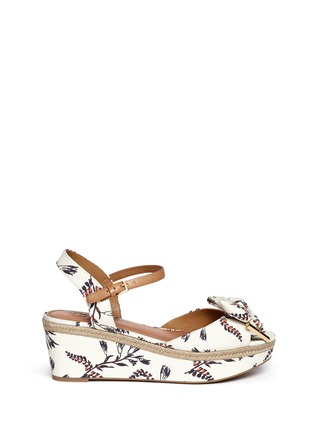 Main View - Click To Enlarge - Tory Burch - 'Penny' floral print canvas wedge sandals