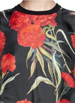 Dolce & Gabbana-Carnation print silk front sleeveless top