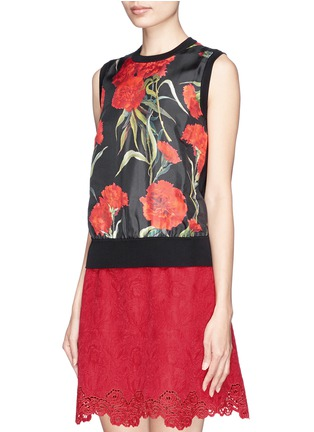 Front View - Click To Enlarge - Dolce & Gabbana - Carnation print silk front sleeveless top