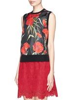 Carnation print silk front sleeveless top