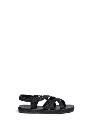 GIORGIO ARMANI - Jute midsole basketweave leather strap sandals