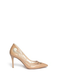GIANVITO ROSSI Western mesh insert leather pumps