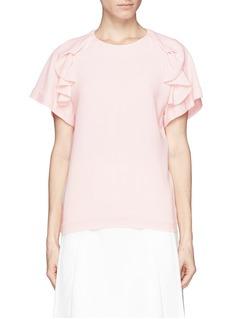 CHLOÉ'Escargot' ruffle silk crepe blouse
