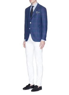 ISAIA'Sailor' check plaid wool-silk bouclé blazer