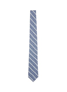 ISAIA Logo print stripe cotton tie