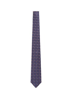 ISAIAFloral wheel jacquard seven fold silk tie