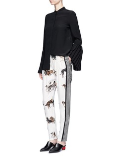 Stella McCartney'Christine' stripe dog print silk pants