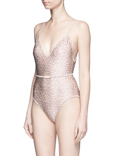 Zimmermann 'Valour Scoop Bar' leopard print one-piece swimsuit