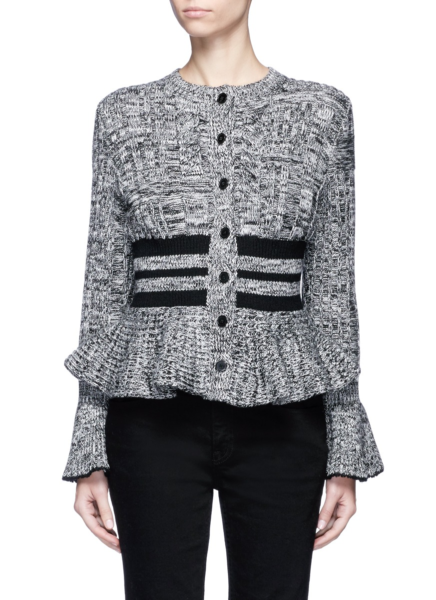 Mixed cable knit wool blend peplum cardigan by Alexander McQueen