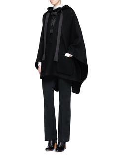 ChloéRibbon front hooded cape coat