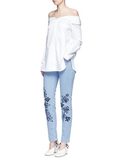 VICTORIA, VICTORIA BECKHAM 'Alt' floral embroidered washed straight leg jeans