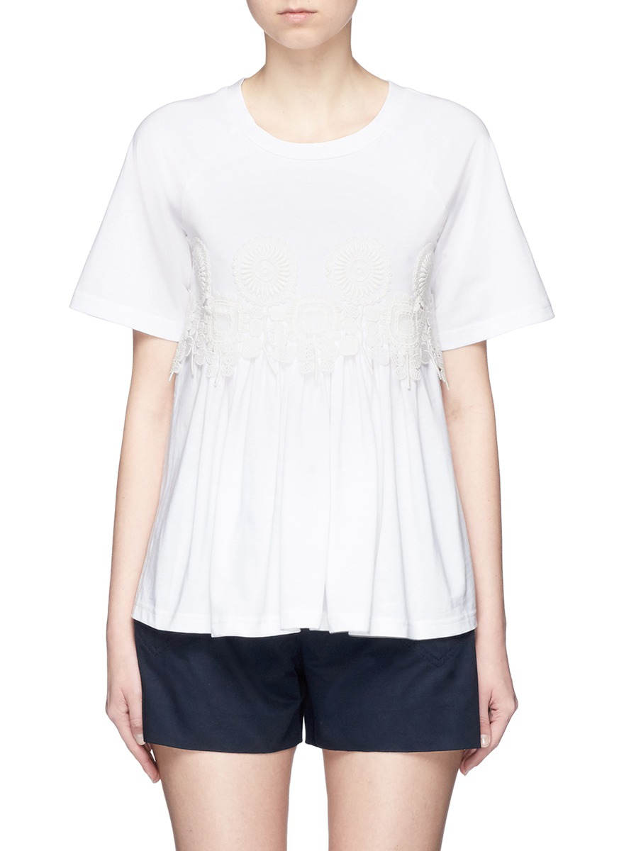 Floral guipure lace jersey T-shirt by Chloé